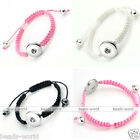 Women Cord Rope Knitted Bracelet Cuff Fit Chunk Button Bead Snap On DIY Gift Hot