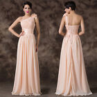 Flower One Shoulder Long Prom Party Wedding Gown Bridesmaid Formal Evening Dress