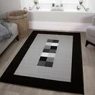 Modern Grey Silver Living Room Rug Soft Non Shed Bordered Black Geometric Rugs