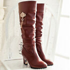 Classical womens knee high boots mid high heels pumps Synthetic leather shoes