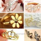 9 Style Lovely Cute Crystal Rhinestone Flowers Rose Adjustable Rings Golden Ring