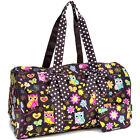 Sazy Bee Design Quilted Owl Floral Print Cotton Duffel Bag Travel Bag with Bow