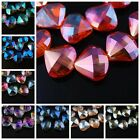 New 5pcs Faceted Glass Crystal Charms Shell Jewelry Finding Spacer Beads 28x26mm