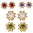 1 New 18K Gold Plated 0.8mm Flower Stud Earrings with 12mmx12mm M3115