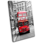 London Retro Bus City SINGLE CANVAS WALL ART Picture Print VA