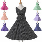 Women Housewife Retro Rockability Swing Wiggle Bow Swing V-Neck Polka Dot Dress