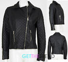 Womens Faux Leather Quilted Black PU biker Jacket Coat Zipped Full Sleeve Jacket