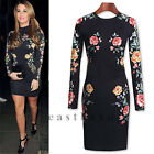 2014 New Womens Celeb Black Floral Lace Long Sleeve Bodycon Party Evening Dress