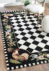 New Animal Prints Modern Contemporary Black Hand Hooked Area Rug Carpet Wool