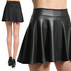 Themogan Faux Leather & Knit High Waist Pleated Skater Skirt Flared Circle Mini