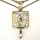 """EASTER BUNNY RABBIT ART GLASS PEARL PENDANT NECKLACE """"VINTAGE CHARM"""" JEWELRY"""