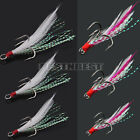 10Pcs Lures Baits Treble Hooks with Feather Outdoor Use for Fishing Enthusiasts