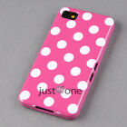 BlackBerry Z10 Smart TPU Black Big-Circle Polka Dots Skin Case Cover White Back
