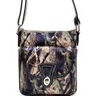 Camouflage Patent Leather Twist Lock Messenger Bag Crossbody Bag with Crocodile