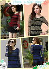 Shiny Striped Women Hollow Lace Mesh Blouse Tops Vintage Long Sleeve Tee Shirts