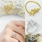 1pcs Wholesale Jewelry New Women Ladies Silver Gold Tone Fashion Leaf Rings