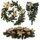 "Set of 6ft garland, 24"" Tear Drop & a Candle Holder with Gold Decorations"