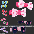 2x Cute Dot Ribbon Bow Hair Clip Hairpin Headband Gift for Kid Childen Student