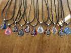 """Tibetan Silver Music Note Charm Guitar Pick Necklace w/Your choice of Color 18"""""""