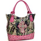 Women Patent Camouflage Handbag with Rhinestone Cross Pyramid Studded Tote Bag