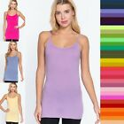 Women Long Cami Adjustable Strap Soft Stretchy No Bra Tunic Cotton Tank Top 8745