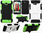 For LG Realm LS620 HYBRID KICKSTAND Rubber Case Cover Accessory +Screen Guard
