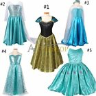 Halloween Kids Girls Costume Cosplay Party Princess Frozen Elsa Anna Xmas Dress