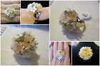 Peach & White Flowers **CHOOSE SIZE** Clear Crystal Floral Gold Finger Ring