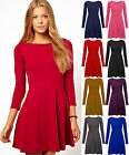 Womens Mini Skater Dress Ladies Long Sleeve Swing Jersey Basic Top Plus Size8-20