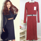 Sexy Slim Fit Long Sleeves Mesh Patchwork Cut Out Knit Sweater Dress SP234