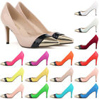 WOMENS Patent PU leather HEEL CORSET PARTY WORK PUMPS COURT SHOES 952-2 UK 2-9