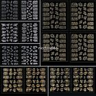 24 Sheet Gold Silver 3D Nail Art Stickers Tips Manicure Decals Stamping N4U8