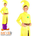Yellow Dwarf Gnome Kids Fancy Dress Book Fairytale Elf Childs Costume Outfit