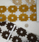 Vintage upholstery fabric trim 9 cm 3.5 inch wide BROWN or YELLOW by the metre