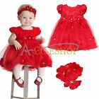 Flower Girl Baby Princess Dress Petals Pageant Party Wedding Dress Headband Xmas