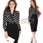 Womens Elegant Polka Dot Wear to Work Cocktail Party Sheath Pencil Formal Dress