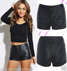 NEW FAUX LEATHER WOMENS PU HIGH WAIST LADIES DRESS HOTPANTS SHORTS 6-18