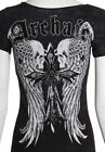 Archaic AFFLICTION Womens T-Shirt LUSTROUS Skulls Tattoo Biker Sinful M-XL $40 a
