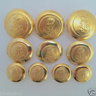 5 x military look METAL blazer buttons gold colour, sizes 15mm 20mm 23mm