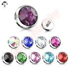 1 x 14G Gem Set Flat Bottom Dome Internally Threaded Dermal Anchor Spare Part
