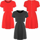 Womens Ladies Plain Cut Out Sides Crop Top Textured Zip Up Layered Skater Dress