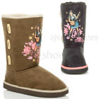 GIRLS CHILDRENS KIDS TOGGLE HANNAH MONTANA WARM FUR LINED CALF BOOTS SIZE