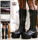 19 Hole Gothic Punk Military Laceup Knee High Chunky Heel Platform Vegan Boots