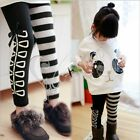 Girls Kid Classical Black White Stripe Bow Skinny Leggings Tights Pants Trousers