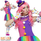 Circus Clown + Hat Ladies Fancy Dress Adult Womens Fun Comedy Costume Outfit New