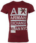 ARMANI EXCHANGE AX Mens T-Shirt STACKED Slim Fit BURGUNDY Designer $45 Jeans NWT