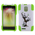 For ZTE Engage LT MT N8000 White/ Neon Green Advanced Hybrid Y Stand Case Cover