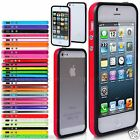 Two Tone Bumper Rim Case Cover For Apple iPhone 5S, 5 With Silver Buttons