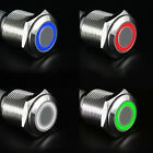 12V 16mm LED Power Push Button Switch Silver Aluminum Latching