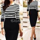 Fashion Womens Long Sleeve Striped Slim Fitted Bodycon Casual Pencil Dress E0Xc